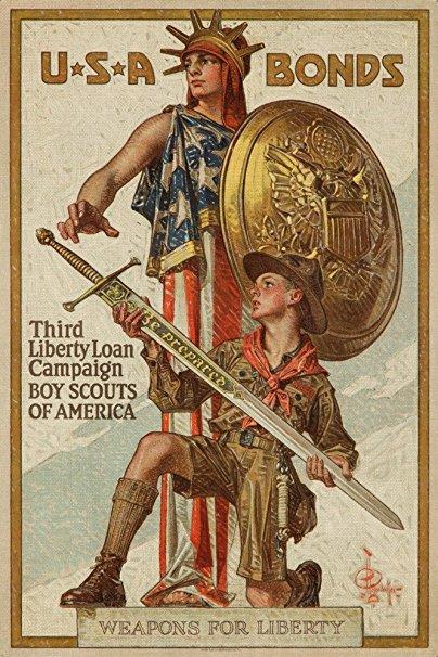 USA - Third Liberty Loan Campaign - Boy Scouts of America - (artist: Leyendecker c. 1918) - Vintage Propaganda (36x54 Giclee Gallery Print, Wall Decor Travel Poster)