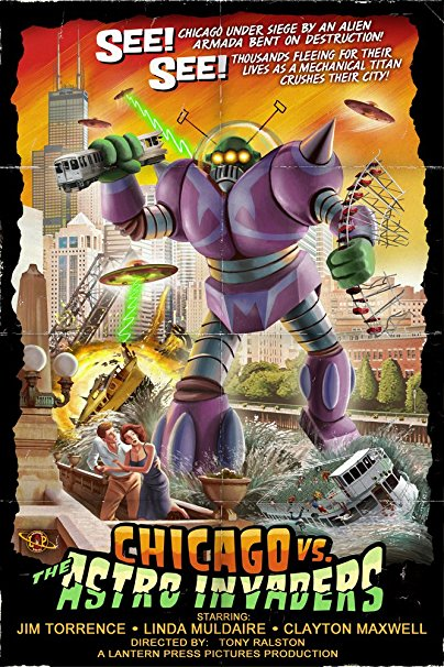 Chicago Versus Astro Invaders (36x54 Giclee Gallery Print, Wall Decor Travel Poster)