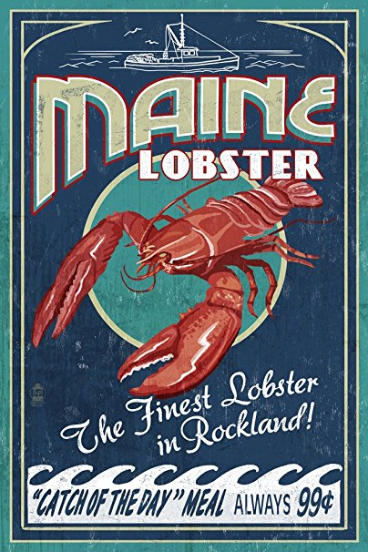Rockland, Maine - Lobster Vintage Sign (36x54 Giclee Gallery Print, Wall Decor Travel Poster)
