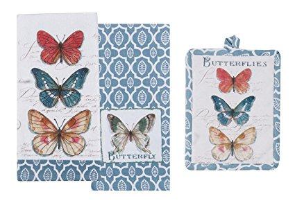 3 Piece Butterfly Garden Bundle / Set - 1 Terry Towel, 1 Tea Towel, 1 Potholder