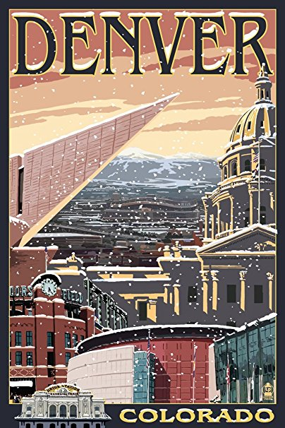 Denver, Colorado - Skyline View in Snow (36x54 Giclee Gallery Print, Wall Decor Travel Poster)