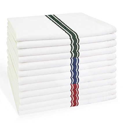 Kitchen Dish Towels Set of 12: Tea Towels by Claren. 100% Cotton. EXTRA-LARGE Dish Cloths 28