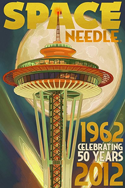 Seattle, Washington - Space Needle and Full Moon (36x54 Giclee Gallery Print, Wall Decor Travel Poster)