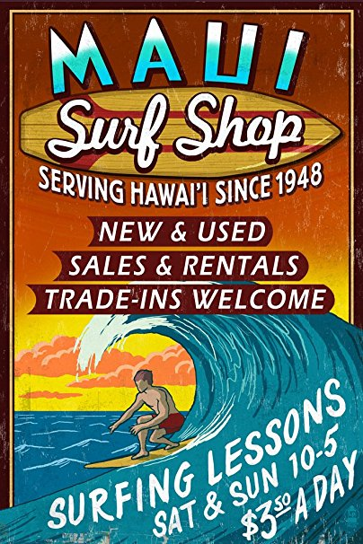 Surf Shop Vintage Sign - Maui, Hawaii (16x24 Giclee Gallery Print, Wall Decor Travel Poster)