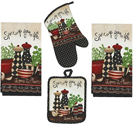 4 Piece Spice Up Your Life Kitchen Set - 2 Terry Towels, Oven Mitt, Potholder