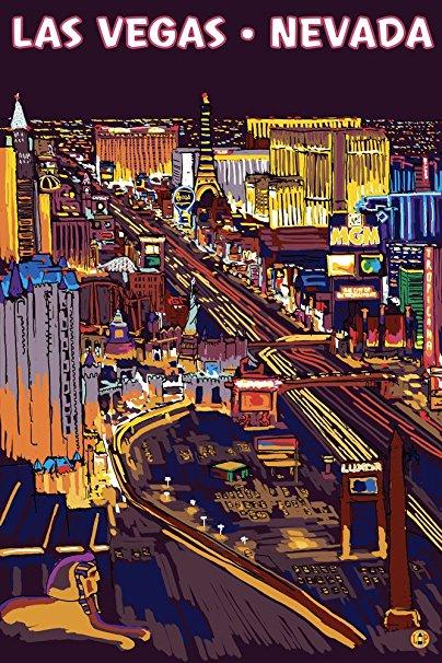 Las Vegas, Nevada - Strip at Night (36x54 Giclee Gallery Print, Wall Decor Travel Poster)