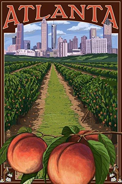 Atlanta, Georgia - Peaches (36x54 Giclee Gallery Print, Wall Decor Travel Poster)