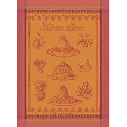 Garnier Thiebaut, Gateaux Delicieux Abricot (Delicious Cakes, in Apricot) Woven French Kitchen / Tea Towel, 100 Percent Cotton