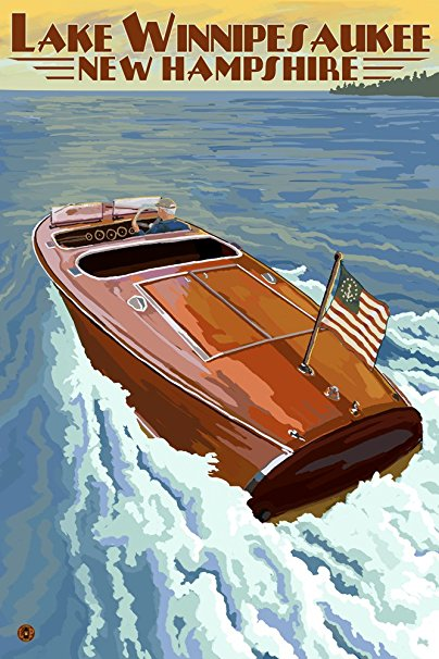 Lake Winnipesaukee, New Hampshire - Chris Craft Boat (36x54 Giclee Gallery Print, Wall Decor Travel Poster)