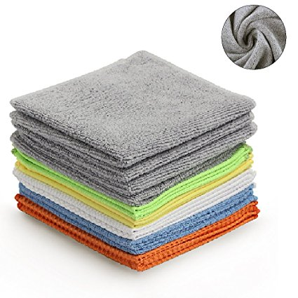 BONDRE Multi-Function Microfiber Cleaning Cloths - 12Pack | Absorbent for Home/Kitchen/Car Glass/Disk Screen/Tablets |, 16x16 Inch.