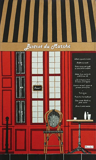 Beauville, Bistrot (Bistro) du Marche French Kitchen / Tea Towel, Silk Screen Hand Printed, 22 Inches x 31 Inches