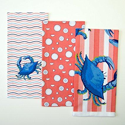 Shard Pottery Crab Stripe Kitchen Towel Set Salmon/Blue