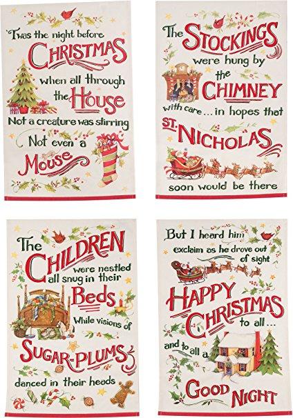 Kay Dee Designs Night Before Christmas Printed Tea Towels, Set of 4