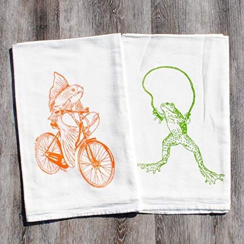 Kitchen Tea Towel Set of 2 - 100% Cotton Flour Sack - 26