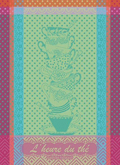 Garnier Thiebaut, L'Heure du Thé Anis (Tea Time, Anis) French Jacquard Kitchen Towel, 100 Percent Cotton, 22 Inches x 30 Inches