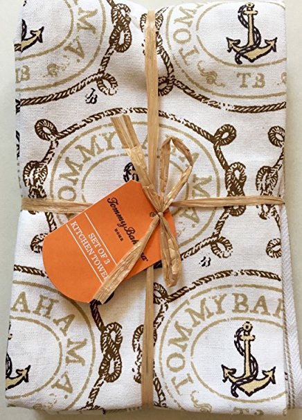 Tommy Bahama Pack of 3 Kitchen Tea or Bar Towels - Anchors Away