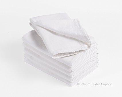 Linteum Textile Classic White FLOUR SACK TOWELS Commercial Grade 100% Cotton 28x29 in. 24-Pack