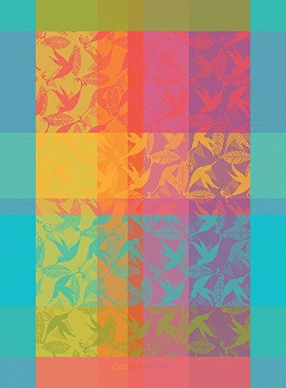 Garnier Thiebaut, Mille Colibris (1000 Hummingbirds), Antilles, French Jacquard Kitchen Towel, 100 Percent Cotton, 22 Inches x 30 Inches