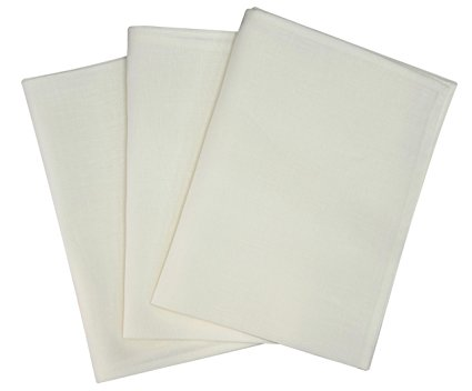 Thomas Ferguson Irish Linen - Linen Tea Towel, Oyster White P470 - Pack of 3