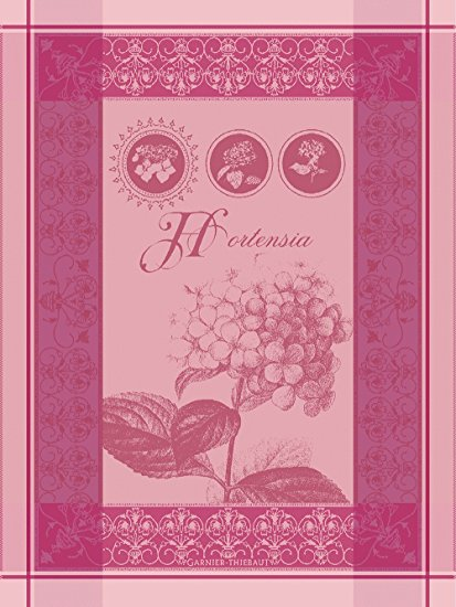 Garnier Thiebaut, Hortensia Rose French Jacquard Kitchen Towel, 100 Percent Cotton, 22 Inches x 30 Inches