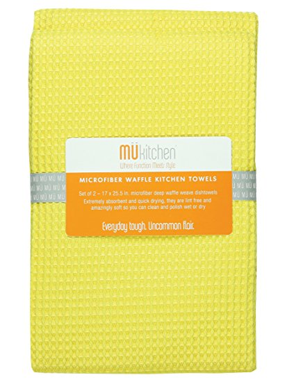 MUkitchen MUmodern Waffle Microfiber Dishtowel, Set of 2, Lemon