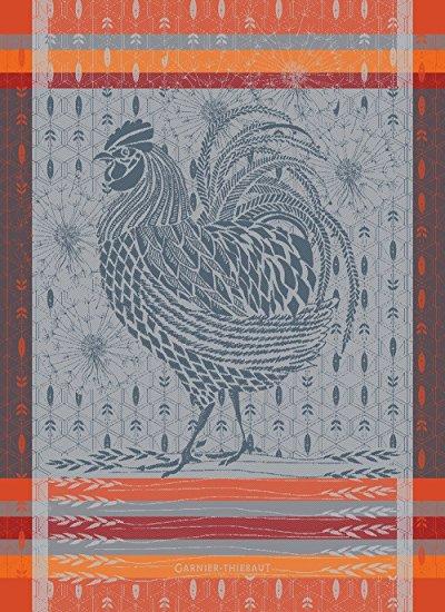Garnier Thiebaut, Le Coq Design Orange (Rooster) French Jacquard Kitchen / Tea Towel, 100 Percent Cotton