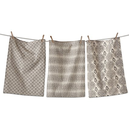 tag - Henna Block Print Dishtowels, Beautiful Designs and Colors Make a Perfect Addition to Any Kitchen, Natural and Black, Set of 3 (26